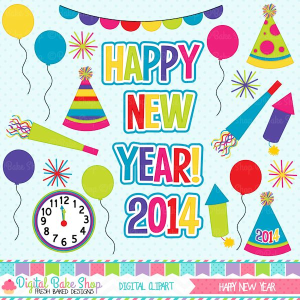 New Year clipart party supply Digital Cliparts this on ideas