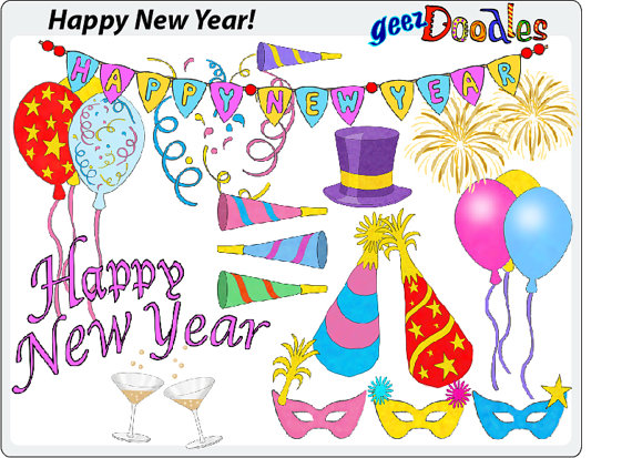 New Year clipart party supply On Colorful Year clip Happy