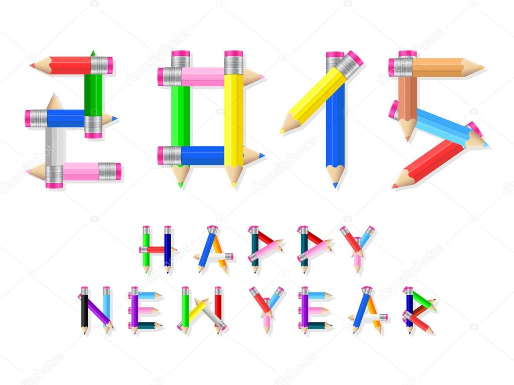 New Year clipart pencil — year on Happy #58136173