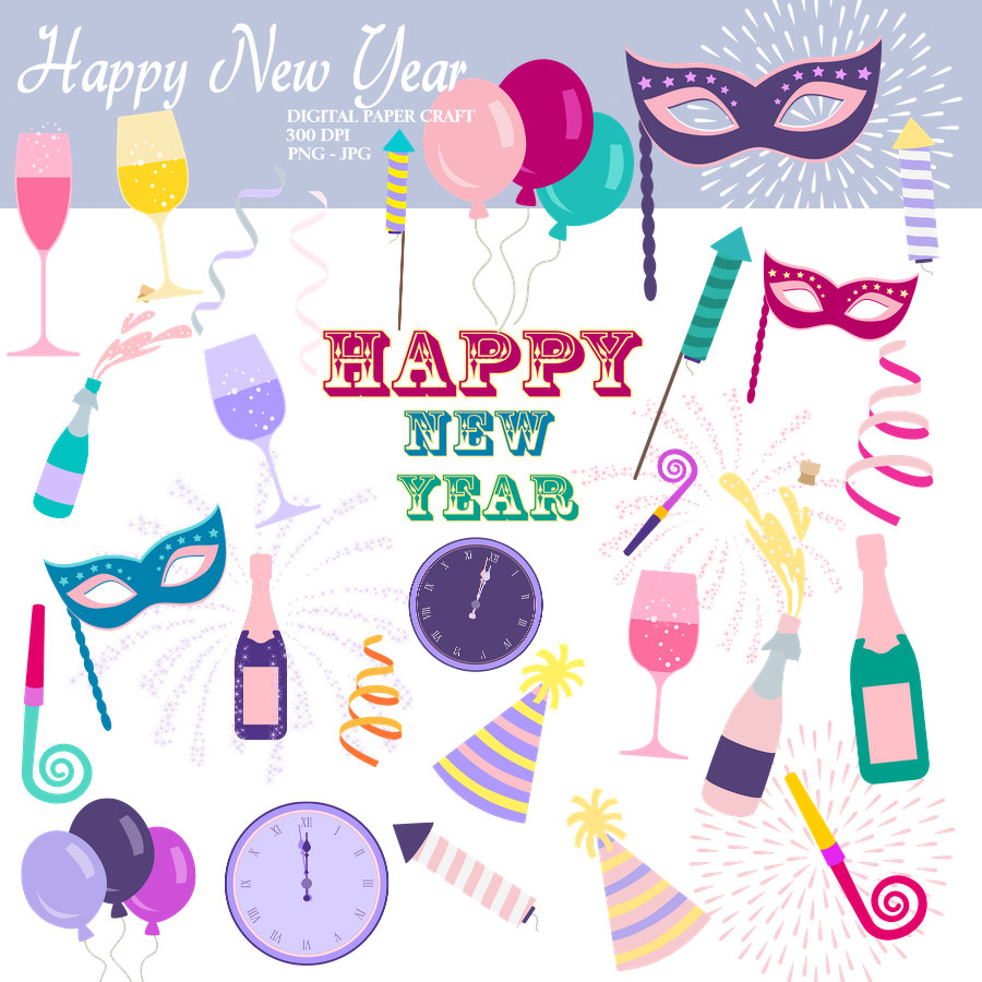 New Year clipart purple New Years New clipart clipart