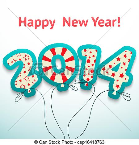 New Year clipart retro Happy greeting greeting 2014 with