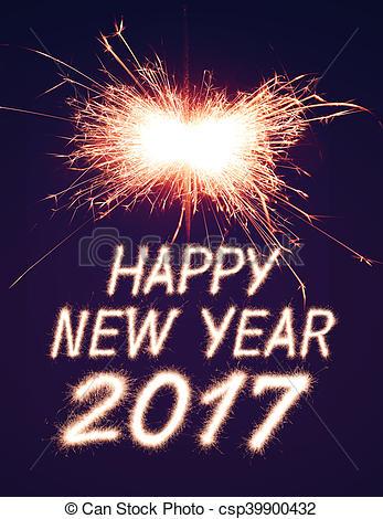 New Year clipart sparkler 2017  Stock 2017 Illustration