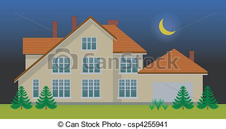 Night clipart at home Night in the in house