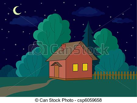 Night clipart at home  vector: country edge forest