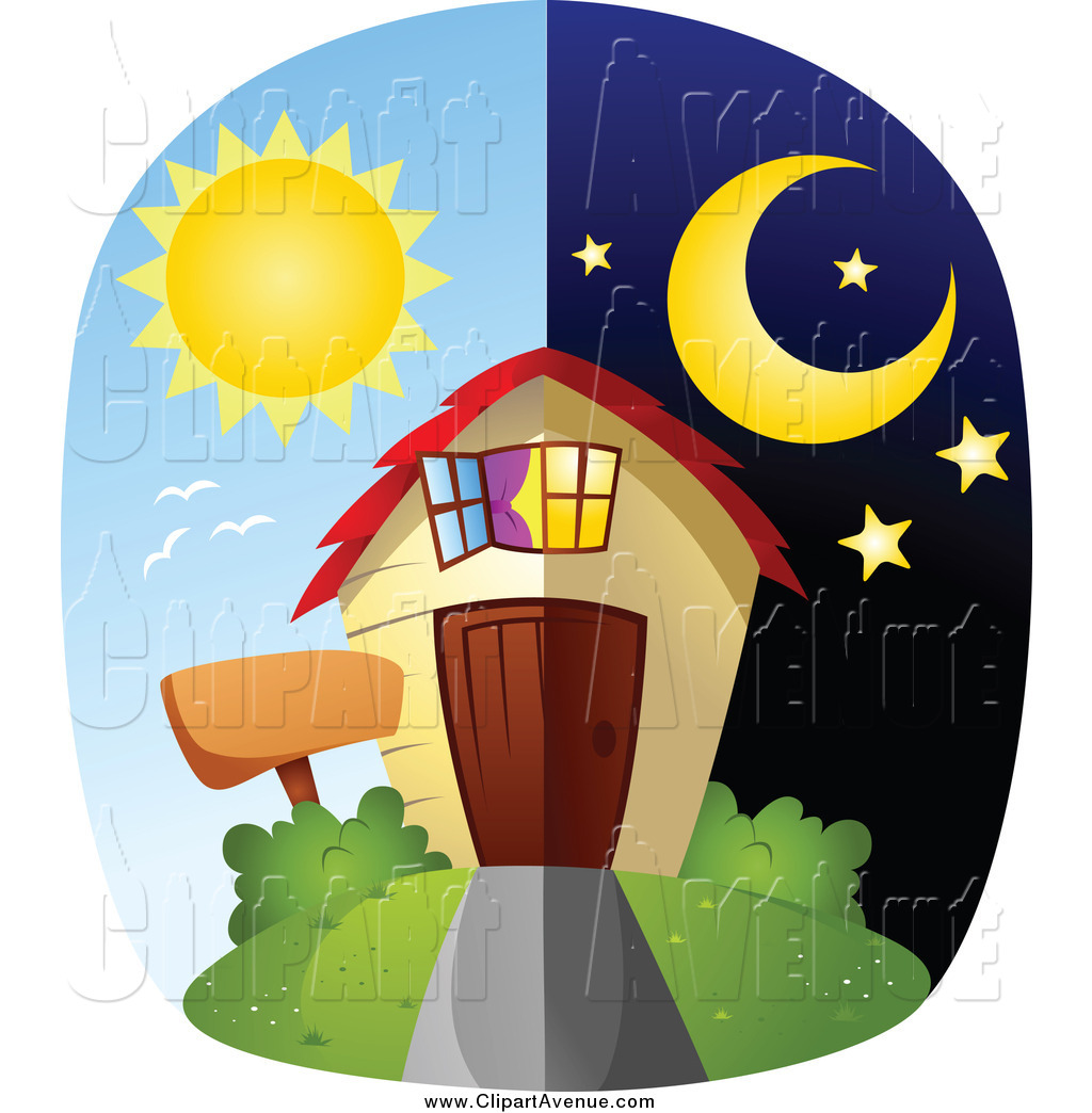 Night clipart at home A Clipart of a of