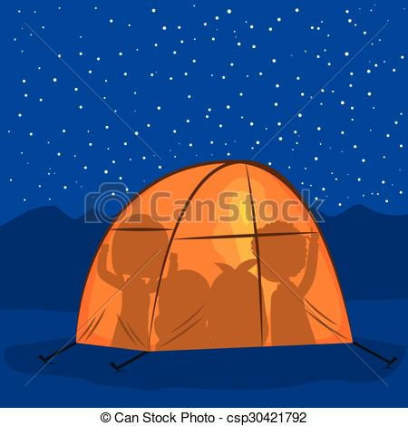 Night clipart camp tent People of tent Camping csp30421792