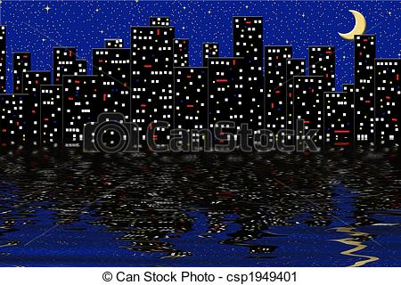 Cityscape clipart jakarta Graphic reflecting lights water Lights