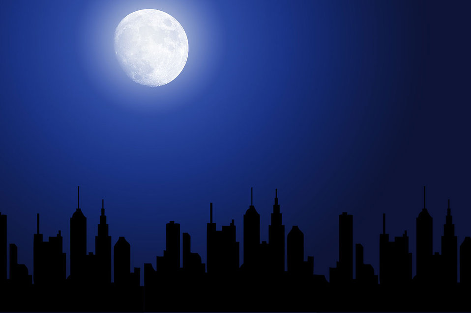 Cityscape clipart moon Free night Free silhouette silhouette