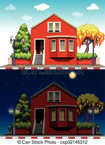 Changing To Night  clipart house And at nighttime  and