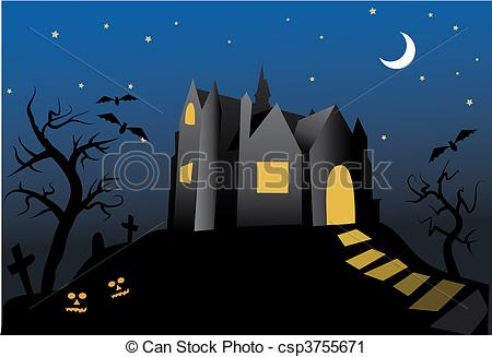 House haunted old night Vector
