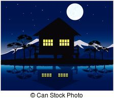 Night clipart house #6