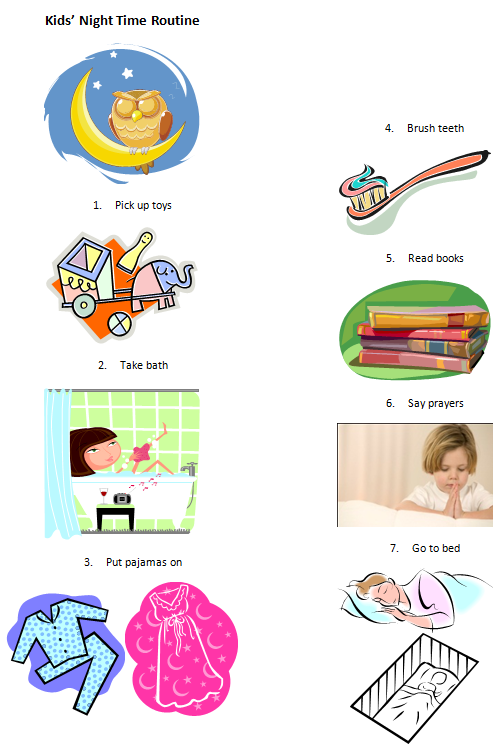 Clipart Free Routine Night Kids'
