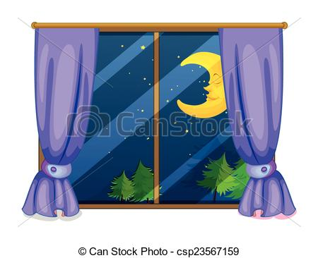 Window clipart moon Night Clipart view view Vector