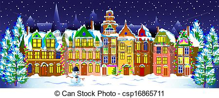 Town clipart christmas town #2