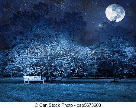 Night clipart park Park Mystical in in csp5673603
