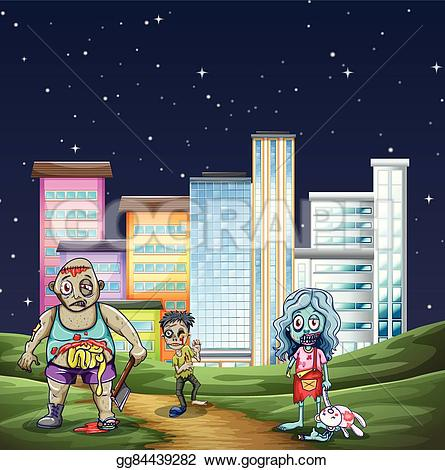 Night clipart park Walking gg84439282 Clipart zombies in