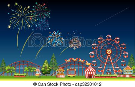 Night clipart park Night park of at with