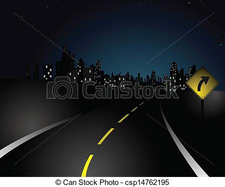 Road clipart night #1