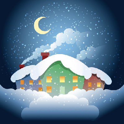 Changing To Night  clipart rural Scenery Night Seasons Village Clipart