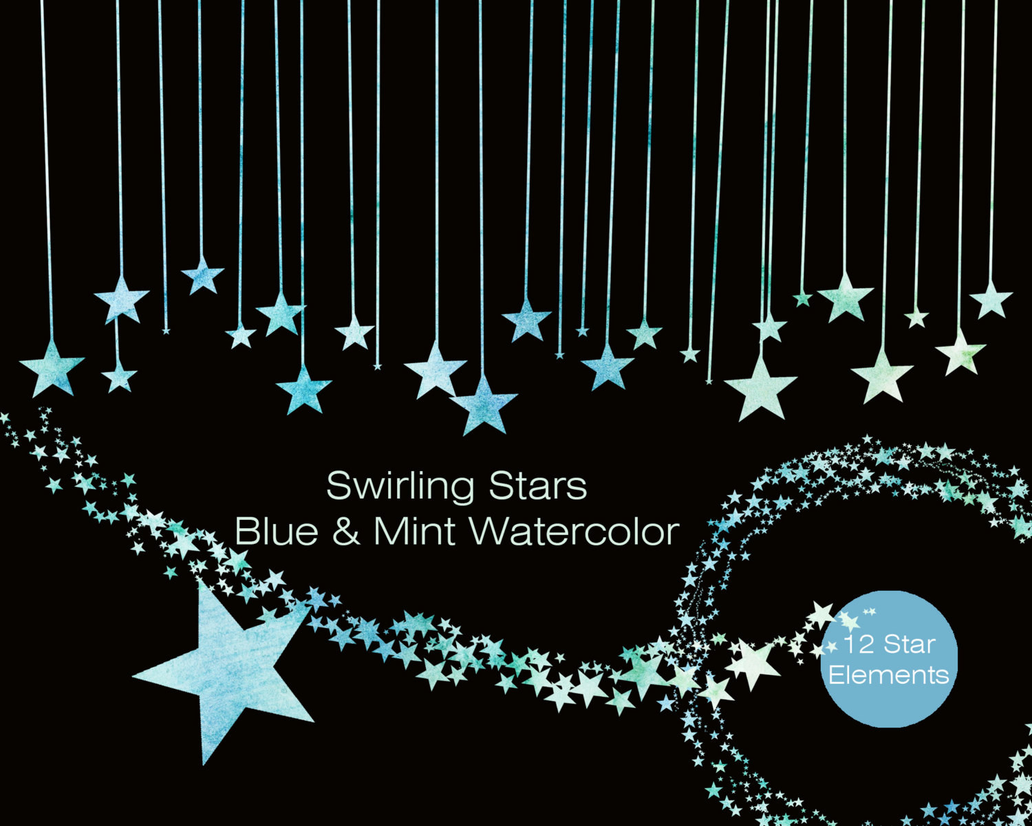 Night Sky clipart blue night Banner MINT Garland Commercial Clip
