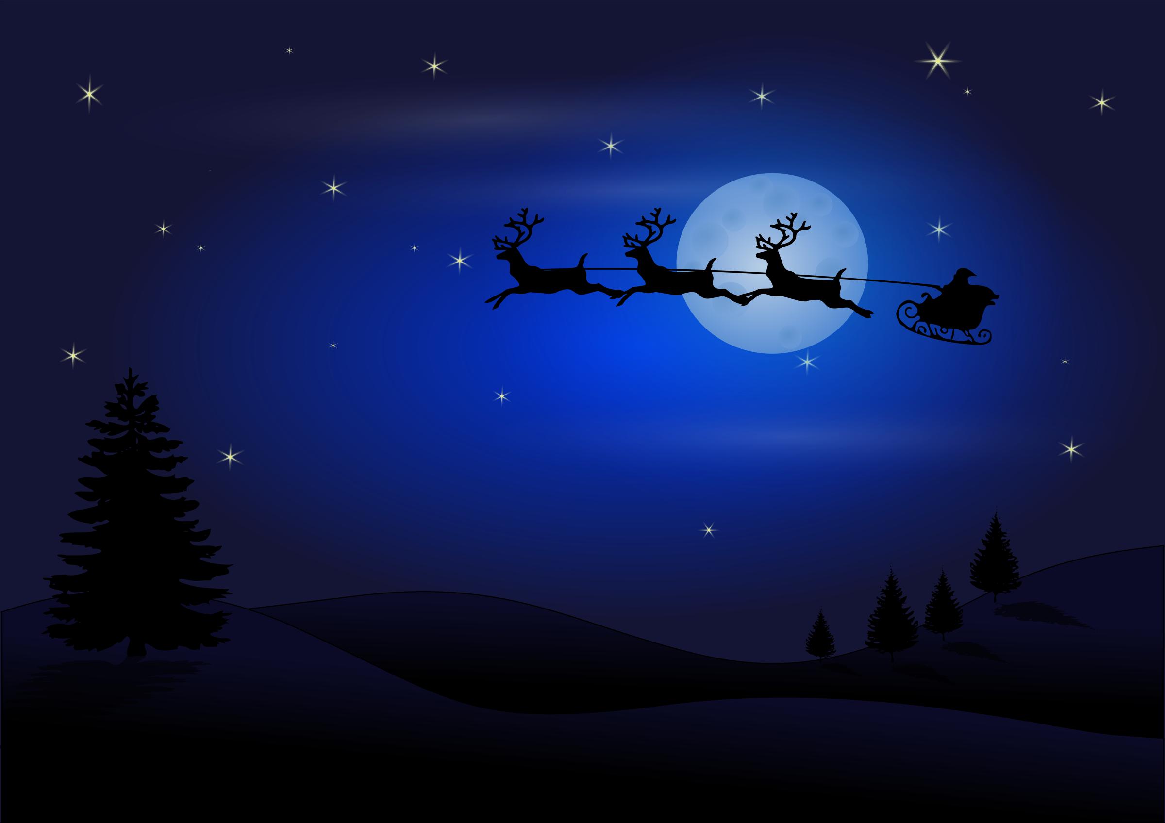 Night Sky clipart blue night Santa in sky sky Clipart