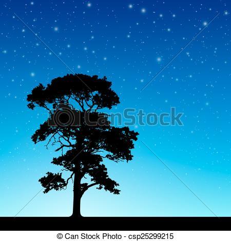 Night Sky clipart blue night  Tree with of Sky