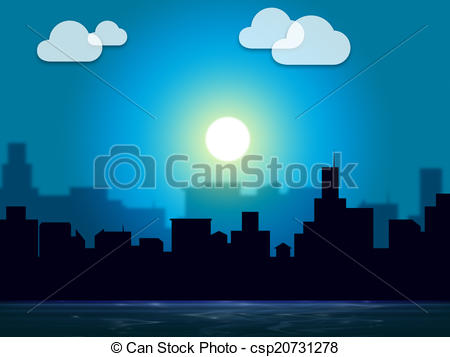 City clipart night time Cityscape Indicates Evening Indicates And