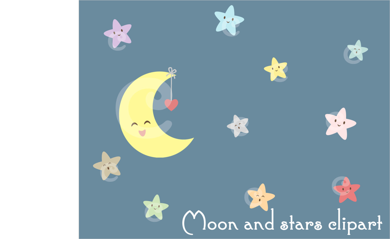 Night clipart moon star Printable Digital This file