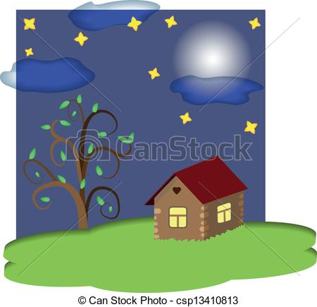 Night clipart at home  tree under night at