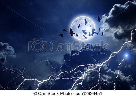 Night Sky clipart night drawing Ravens of ravens sky flock