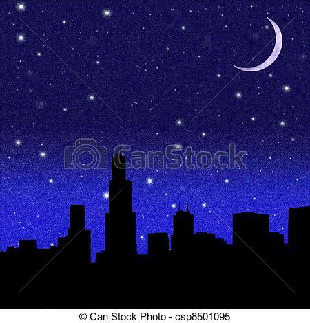 Night Sky clipart night skyline Moon city sky over a
