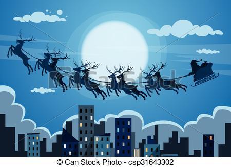 Night Sky clipart night skyline Claus Fly Vector Cityscape Santa
