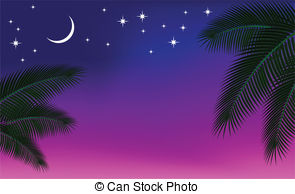 Arabien Nights clipart Illustration palm a sky art