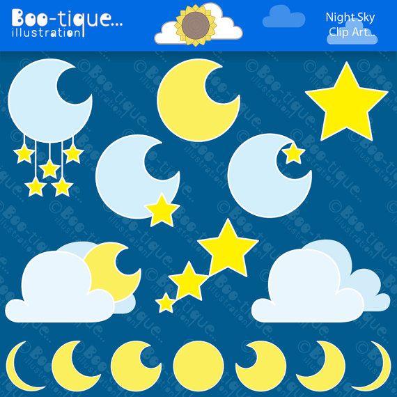 Night clipart moon star Ideas Stars Night Moon Set
