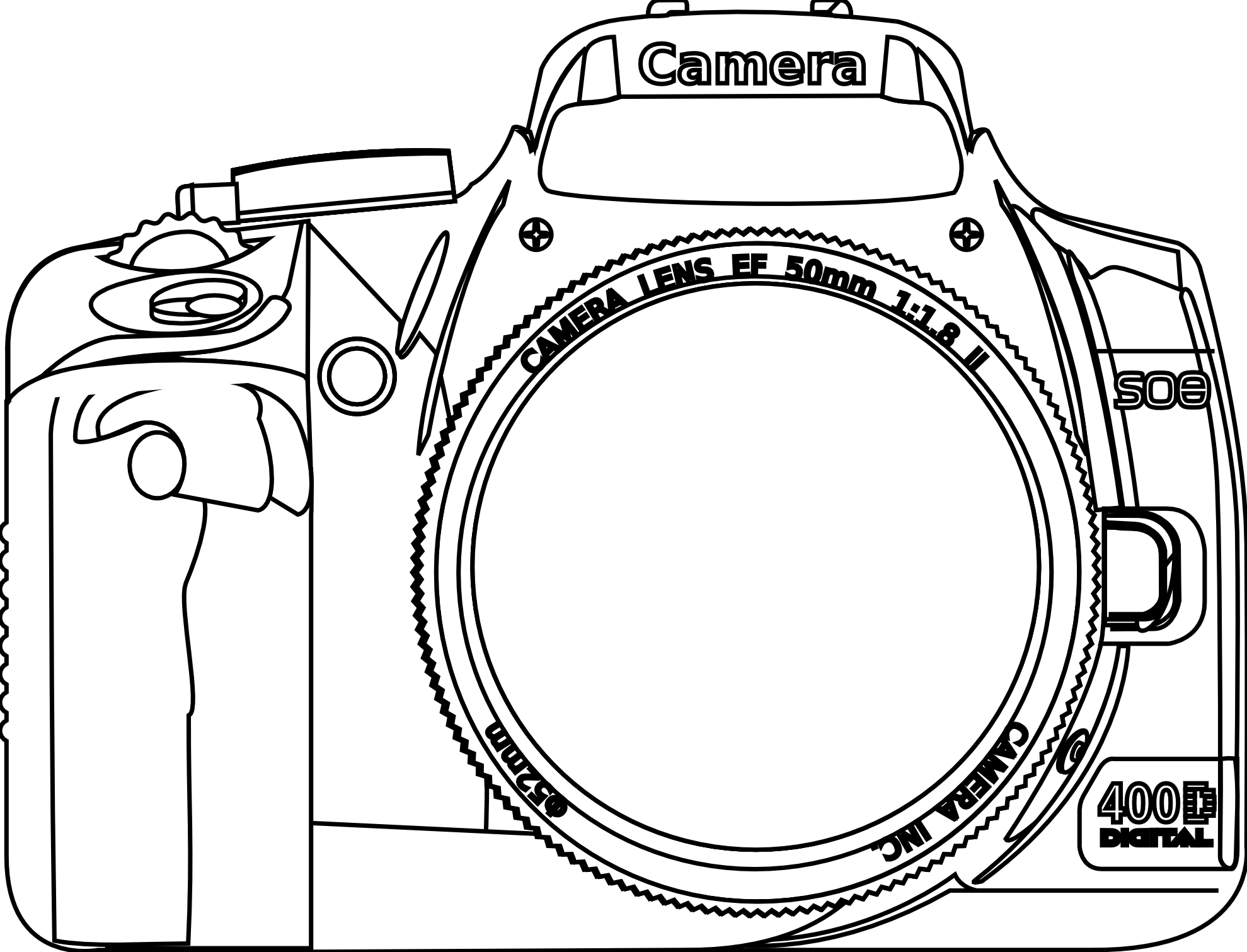 Dslr clipart black and white Image vector dslr camera vector