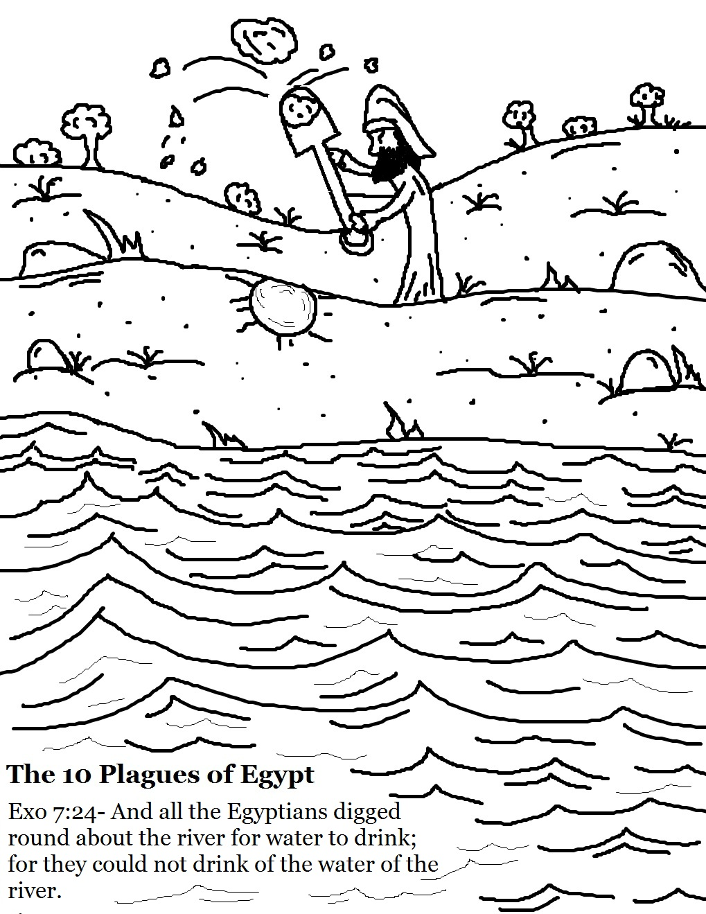 Nile River clipart black and white Water of Blood (Page Egypt