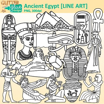 Nile River clipart egyptian civilization Along Ancient Nile and B&W