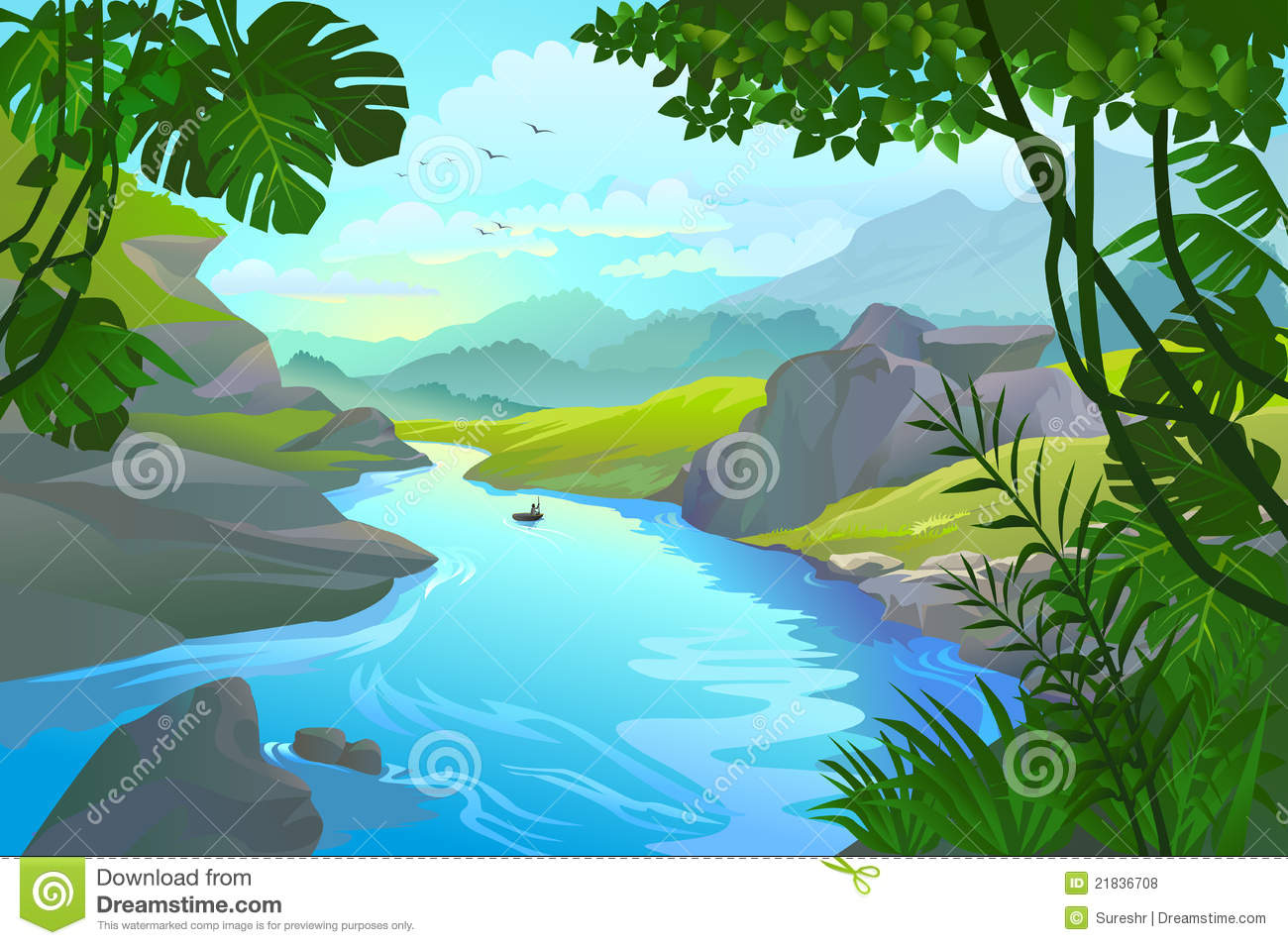 Forest clipart river drawing #5