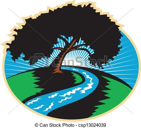 Nile River clipart winding river 645 a Sunrise River Illustration