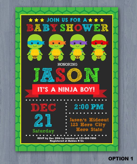 Ninja Turtles clipart baby shower Ideas Best Invitation KidzParty showers