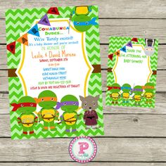 Ninja Turtles clipart baby shower Baby ninja 98 Invitations $9