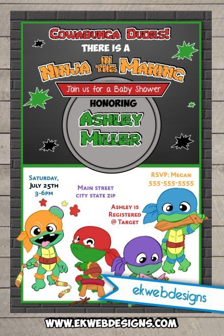 Ninja Turtles clipart baby shower And Custom Invitations Ninja Baby