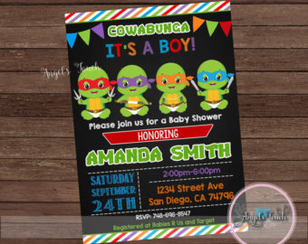 Ninja Turtles clipart baby shower Baby Etsy Ninja Invitation Shower