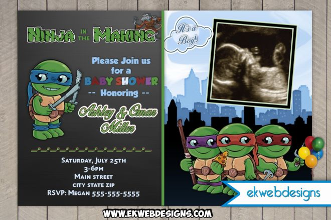 Ninja Turtles clipart baby shower Templates 15 invitation Turtle invitations