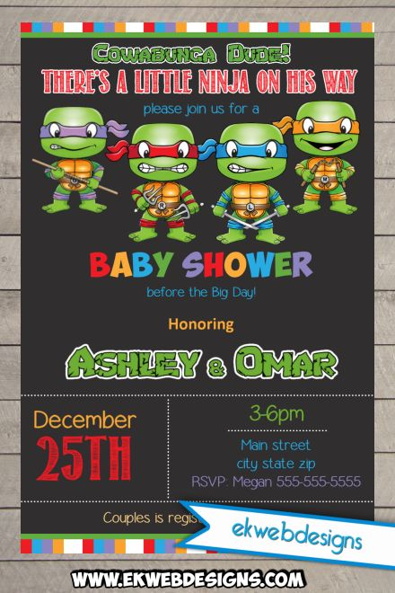 Ninja Turtles clipart baby shower Invitation  Mutant Turtles Teenage