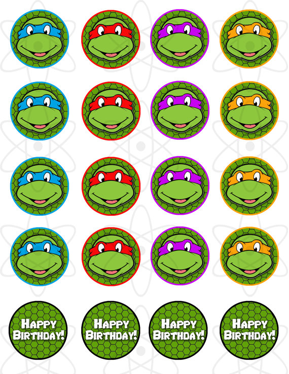 Ninja Turtles clipart printable Etsy Turtles 00 Cupcake Mutant