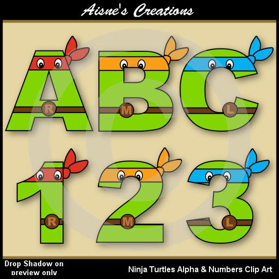 Ninja Turtles clipart yellow Letters Clip Graphics Art Turtles