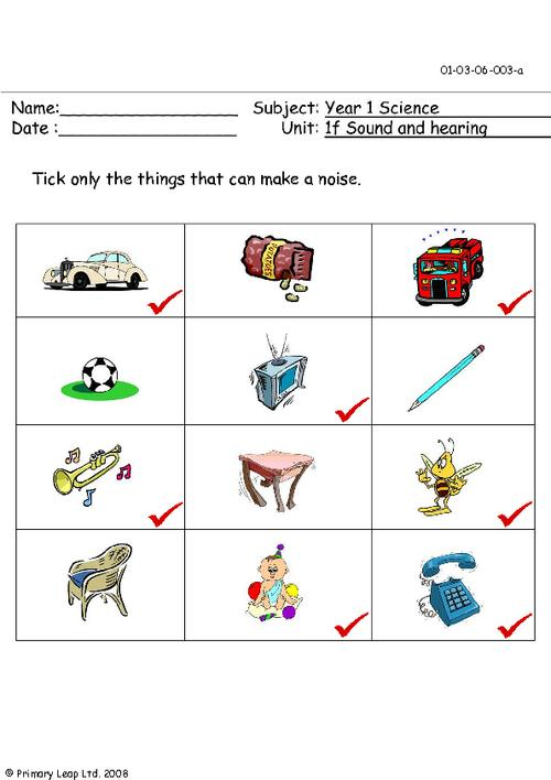 Noise clipart art subject Co Answer Sheet; can Things