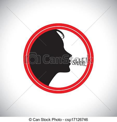 Noise clipart silent Graphic of young silence woman