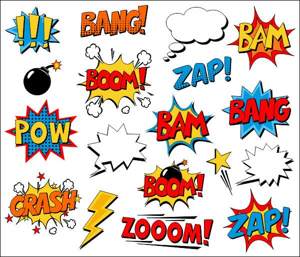 Word clipart comic book Clipart your noises Superhero collection